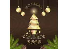 咖啡色2019新年元素装饰图案设计