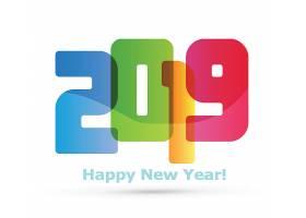 彩色渐变创意2019新年元素装饰图案设计