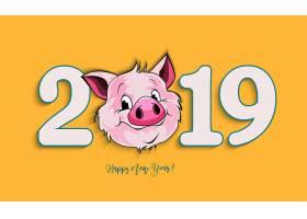 卡通猪2019新年元素装饰图案设计