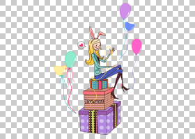 Ded莫罗兹生日魅力礼物新年,坐在快乐的女孩PNG剪贴画的礼物爱,杂图片