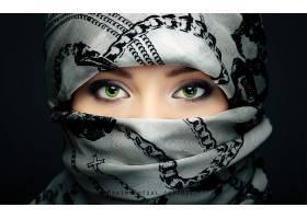 女人,眼睛,妇女,围巾,绿色的,眼睛,女孩,脸,头巾,壁纸,