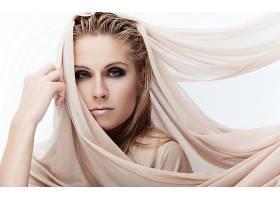 女人,模特,女孩,妇女,特写镜头,围巾,绿色的,眼睛,白皙的,壁纸,
