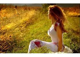 女人,情绪,模型,妇女,绿色的,头发,草,壁纸,
