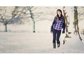 女人,情绪,模型,时尚,风格,冬天的,雪,季节,壁纸,