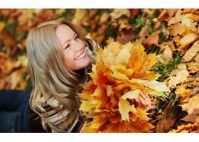 女人,情绪,模型,秋天,叶子,妇女,壁纸,