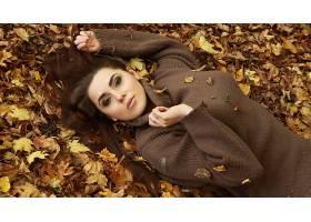女人,情绪,秋天,季节,自然,叶子,壁纸,(1)