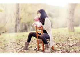 女人,情绪,秋天,季节,自然,叶子,壁纸,