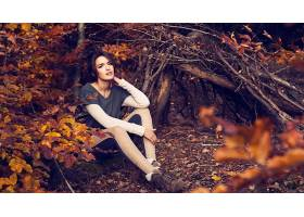 女人,情绪,秋天,季节,自然,森林,风格,妇女,壁纸,