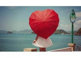 女人,模特,模特,妇女,女孩,雨伞,心形的,壁纸,图片