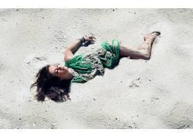 女人,情绪,女孩,绿色的,穿衣,沙,壁纸,