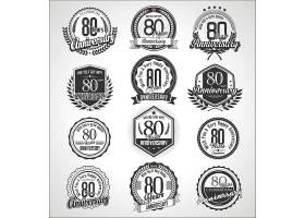 黑白欧式周年标签矢量设计