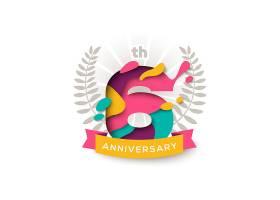 创意个性6周年庆典标签
