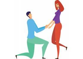 恋爱情侣人物装饰元素插画设计