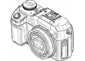 数码相机线稿数码产品矢量设计