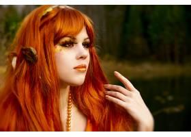 女人,艺术的,女孩,妇女,红发的人,脸,秋天,叶子,壁纸,