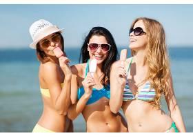 女人,比基尼,妇女,模特,海滩,冰,奶油,帽子,快活的,太阳镜,白皙的