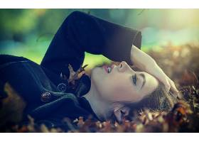 女人,美丽的,女孩,妇女,秋天,情绪,叶子,叶子,Bokeh,壁纸,