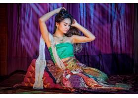 女人,亚洲的,东方的,女孩,妇女,泰国人,模特,传统的,服装,耳环,褶