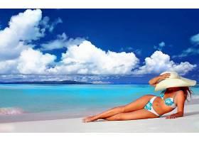 女人,美丽的,海滩,地平线,绿松石,热带的,蓝色,比基尼,夏天,帽子,