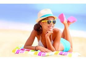 女人,美丽的,海滩,太阳镜,夏天,帽子,壁纸,