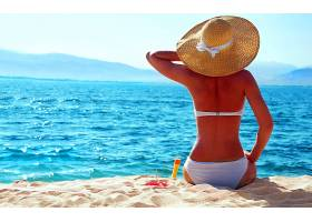 女人,美丽的,海滩,热带的,夏天,帽子,壁纸,