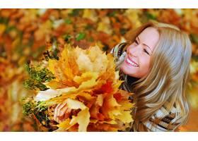 女人,美丽的,白皙的,酒香,叶子,秋天,壁纸,