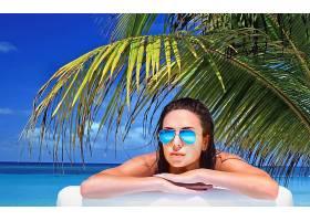 女人,美丽的,蔚蓝的,太阳镜,手掌,树,地平线,绿松石,热带的,蓝色,