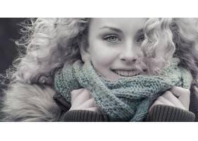 女人,脸,妇女,模特,白皙的,蓝色,眼睛,围巾,微笑,壁纸,