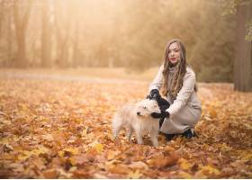 女人,模特,模特,妇女,口红,白皙的,秋天,狗,壁纸,