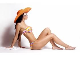 女人,模特,模特,妇女,太阳镜,帽子,比基尼,黑发女人,壁纸,