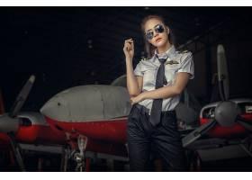 女人,亚洲的,女孩,飞行员,眼镜,制服,飞机,壁纸,图片