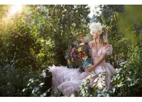女人,情绪,妇女,模特,女孩,粉红色,穿衣,酒香,花,白皙的,户外的,
