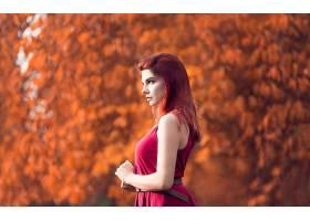 女人,情绪,妇女,模特,女孩,红发的人,红色,穿衣,Bokeh,户外的,壁