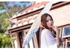 女人,亚洲的,女孩,雨伞,凝视,夏天,壁纸,图片