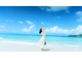 女人,亚洲的,妇女,女孩,海滩,热带的,海洋,黑发女人,地平线,白色,