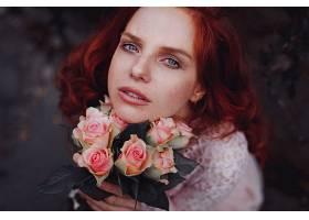 女人,脸,妇女,模特,女孩,红发的人,蓝色,眼睛,玫瑰,酒香,壁纸,