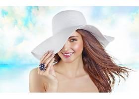 女人,美丽的,帽子,海滩,模特,夏天,热带的,蜡笔,微笑,壁纸,