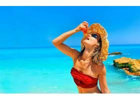 女人,美丽的,快活的,太阳镜,地平线,比基尼,夏天,帽子,绿松石,壁