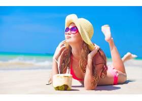 女人,美丽的,模特,海滩,比基尼,太阳镜,帽子,壁纸,