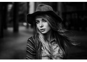 女人,模特,模特,妇女,女孩,黑色,白色,帽子,深度,关于,领域,壁纸,