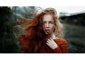 女人,模特,模特,妇女,户外的,Bokeh,红发的人,雀斑,绿色的,眼睛,