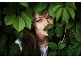 女人,模特,模特,妇女,户外的,蓝色,眼睛,雀斑,黑发女人,叶子,壁纸