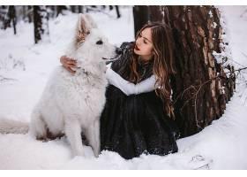 女人,模特,模特,妇女,户外的,雪,森林,冬天的,狗,黑发女人,口红,