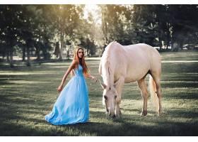 女人,模特,模特,妇女,户外的,马,蓝色,穿衣,Bokeh,快活的,黑发女
