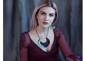 女人,模特,模特,妇女,白皙的,绿色的,眼睛,项链,文身,耳环,壁纸,
