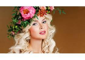 女人,脸,女孩,妇女,白皙的,花,花冠,蓝色,眼睛,模特,壁纸,