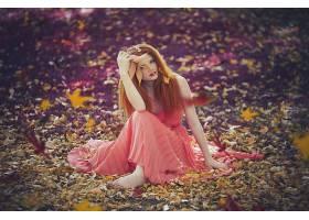 女人,模特,模特,妇女,红发的人,秋天,叶子,穿衣,污迹,口红,壁纸,