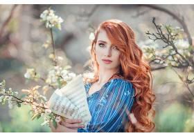 女人,模特,模特,妇女,红发的人,绿色的,眼睛,Bokeh,户外的,表,音