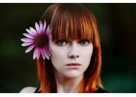 女人,模特,模特,妇女,红发的人,花,绿色的,眼睛,壁纸,