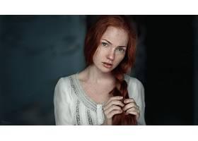 女人,模特,模特,妇女,红发的人,辫子,绿色的,眼睛,雀斑,壁纸,